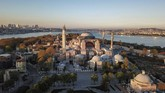 An aerial view of the Byzantine-era Hagia Sophia, on Saturday, April 25, 2020, one of Istanbul's main tourist attractions in the historic Sultanahmet district of Istanbul. The 6th-century building is now at the center of a heated debate between conservative groups who want it to be reconverted into a mosque and those who believe the World Heritage site should remain a museum. (AP Photo)
