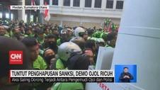 VIDEO: Tuntut Penghapusan Sanksi, Demo Ojol Ricuh