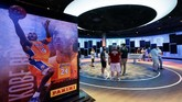 An exhibit at the Naismith Memorial Basketball Hall of Fame, in Springfield, Mass., shown Tuesday, June 23, 2020, features images of Los Angeles Lakers' Kobe Bryant. Bryant was among nine people, along with his 13-year-old daughter Gianna, killed in a helicopter crash in January of 2020, in California. The museum is scheduled to reopen in the beginning of July 2020 after a renovation.  (AP Photo/Steven Senne)