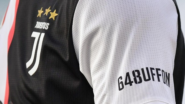 The celebrative jersey for Gianluigi Buffon during the Serie A soccer match between Juventus and Torino, at the Allianz Stadium in Turin, Italy, Saturday, July 4, 2020. Juventus goalkeeper Gianluigi Buffon set an outright Serie A record on Saturday with his 648th appearance in Italy's top flight. The Turin derby game against Torino moved the 42-year-old Buffon one ahead of AC Milan great Paolo Maldini, who set the record in 2009. (Marco Alpozzi/LaPresse via AP)