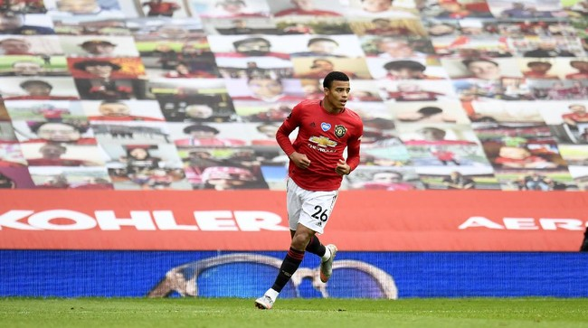 Manchester United's Mason Greenwood celebrates his goal during the English Premier League soccer match between Manchester United and Bournemouth at Old Trafford stadium in Manchester, England, Saturday, July 4, 2020. (Peter Powell/Pool via AP)