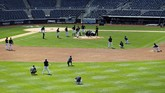 The New York Yankees team reacts after pitcher Masahiro Tanaka was hit in the head by a baseball during a team workout at Yankee Stadium in New York, Saturday, July 4, 2020. (AP Photo/Adam Hunger)