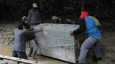 Petugas menurunkan kerangkeng berisi Harimau Sumatra liar dari perahu sebelum proses pelepasliaran di kawasan Taman Nasional Gunung Leuser (TNGL) yang berdampingan dengan Kawasan Ekosistem Leuser, Provinsi Aceh.