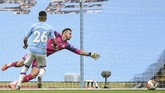 Manchester City's Riyad Mahrez scores during the English Premier League soccer match between Manchester City and Newcastle at the Ethiad Stadium in Manchester, England, Wednesday, July 8, 2020. (Oli Scarff/Pool via AP)