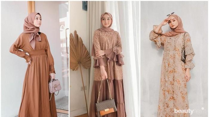 Tampil Lebih Elegan, Intip 6 Model Gamis Warna Coklat ala Influencer