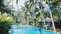 <p>Menawarkan kolam renang yang tak kalah indah dan menakjubkan. Dikeliling pepohonan kelapa nan hijau, dengan pemandangan gunung di kejauhan. (Foto: Instagram @capellaubud)</p>
