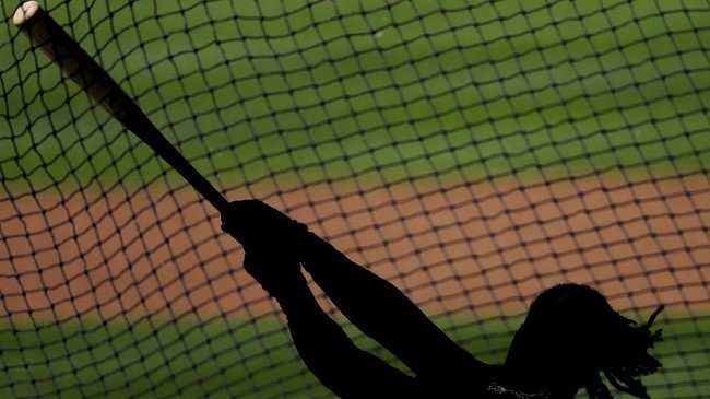 Atlanta Braves' Ronald Acuña Jr. hits a ball doing batting practice during baseball team practice at Truist Park, Sunday, July 5, 2020, in Atlanta. (AP Photo/Brynn Anderson)