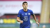 Chelsea's Christian Pulisic runs during the English Premier League soccer match between Sheffield United and Chelsea at Bramall Lane in Sheffield, England, Saturday, July 11, 2020. (Peter Powell/Pool via AP)