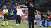 Napoli manager Gennaro Gattuso shouts instructions to his team during a Serie A soccer match against AC Milan at San Paolo Stadium in Naples, Italy, Sunday, July 12, 2020. (Cafaro/LaPresse via AP)