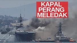 VIDEO: Kapal Perang Meledak, 21 Orang Terluka