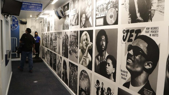 The entrance hallway to the Motown Museum is seen, Wednesday, July 15, 2020, in Detroit. The Detroit building where Berry Gordy Jr. built his music empire reopened its doors to the public on Wednesday. It had been closed since March due to the coronavirus pandemic. (AP Photo/Carlos Osorio)
