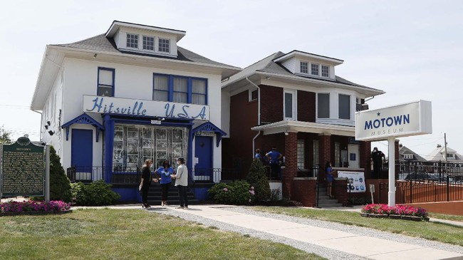 The exterior view of the Motown Museum is seen, Wednesday, July 15, 2020, in Detroit. The Detroit building where Berry Gordy Jr. built his music empire reopened its doors to the public on Wednesday. It had been closed since March due to the coronavirus pandemic. (AP Photo/Carlos Osorio)
