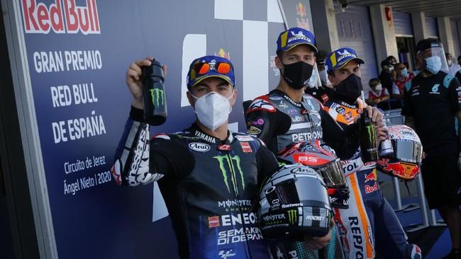 Maverick Vinales, Fabio Quartararo, dan Marc Marquez di Babak Kualifikasi MotoGP Spanyol 2020.