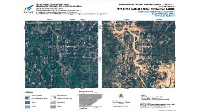 Hasil pencitraan satelit SPOT-6 oleh Lembaga Penerbangan dan Antariksa Nasional (LAPAN) menunjukkan banjir di kota Masamba, Kabupaten Luwu Utara menyebabkan kerusakan besar.