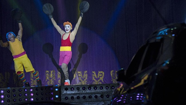 Edson Luan, the clown Pipoca, performs at the Estoril Circus despite the coronavirus pandemic in Itaguai, greater Rio de Janeiro, Brazil, Saturday, July 18, 2020. Pipoca says he can't hold himself with such emotion to start performing again.
