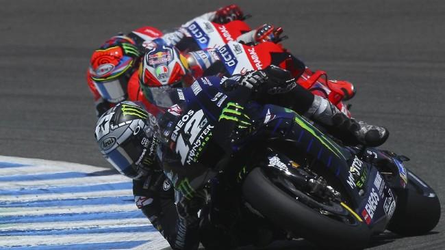 Fabio Quartararo dan Valentino Rossi berbagi podium di MotoGP Andalusia 2020 di Sirkuit Jerez, Minggu (26/7).