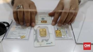Harga emas Antam turun Rp8.000 per gram dipatok jadi Rp1,015 juta pada perdagangan Rabu (14/10).