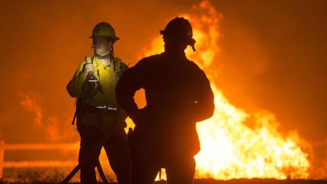 Kebakaran hutan terjadi di Cherry Valley, California selatan, Amerika Serikat yang telah meluas hingga lebih dari 20 ribu hektare.