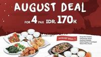 <p>Spesial bulan Agustus dari Ta Wan, makan berempat hanya Rp170 ribu dengan dua pilihan menu andalan. </p>