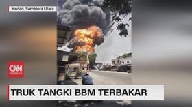 VIDEO: Truk Tangki BBM Terbakar di Medan