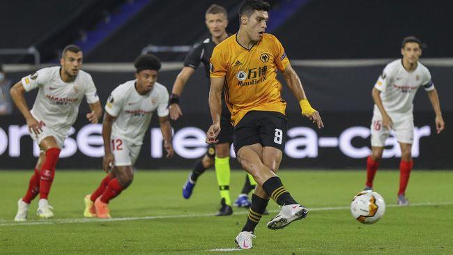 Duel Wolves vs Sevilla untuk sementara bermain imbang tanpa gol pada babak pertama perempat final Liga Europa.