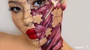 Koleksi foto hasil makeup Mimi Choi yang menunjukkan puzzle anatomi wajah.