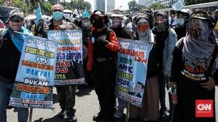 FOTO: Buruh Kembali Demo DPR Tolak Omnibus Law