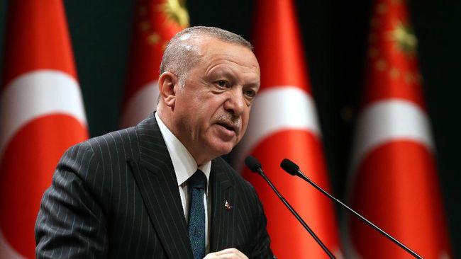 Presiden Turki Recep Tayyip Erdogan mengecam Israel sebagai negara teroris yang kejam dalam pidatonya di Ankara, Sabtu (8/5).