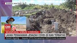 VIDEO: Lahan Makam Covid-19 di Surabaya Hampir Penuh