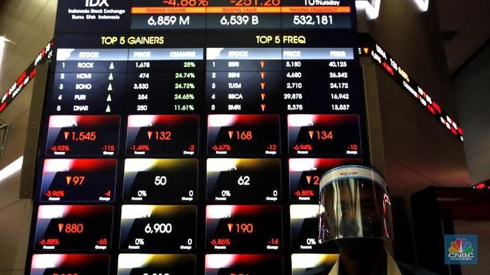 Laju bursa saham domestik langsung tertekan dalam pada perdagangan hari ini, Kamis (10/9/2020) usai Pemerintah Provinsi DKI Jakarta mengumumkan akan memberlakukan kebijakan pembatasan sosial berskala besar (PSBB) mulai Senin pekan depan.  Sontak, investor di pasar saham bereaksi negatif. Indeks Harga Saham Gabungan anjlok lebih dari 4% ke level 4.920,61 poin. Investor asing mencatatkan aksi jual bersih Rp 430,47 miliar sampai dengan pukul 10.18 WIB.  (CNBC Indonesia/ Tri Susilo)