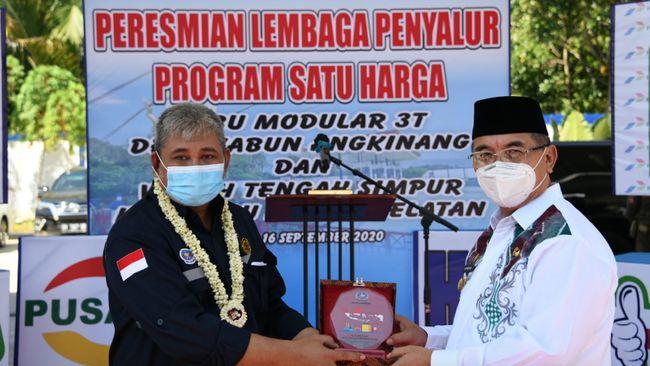 BPH Migas meresmikan dua SPBU dalam Program BBM 1 Harga di Kecamatan Simpur dan Angkinang, Kabupaten Hulu Sungai Selatan, Kalimantan Selatan pada Rabu (16/9).