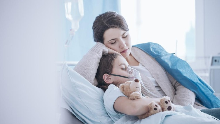 Mother taking care of sick daughter with oxygen mask and teddy bear