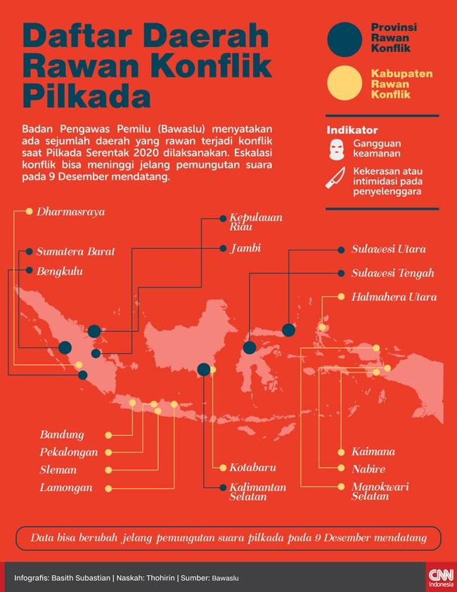 Pemilihan gubernur di Kalimantan Selatan dan pemilihan bupati di Kabupaten Bandung, Jawa Barat termasuk di antaranya.