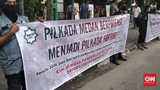 GNPF ulama Sumut khawatir Pilkada Medan akan menjadi klaster baru penularan covid-19. Mereka meminta agar Pilkada Medan ditunda.