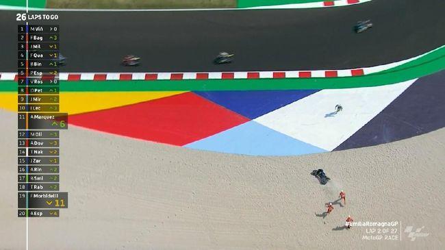 VIDEO: Detik-detik Rossi Jatuh di MotoGP Emilia Ro