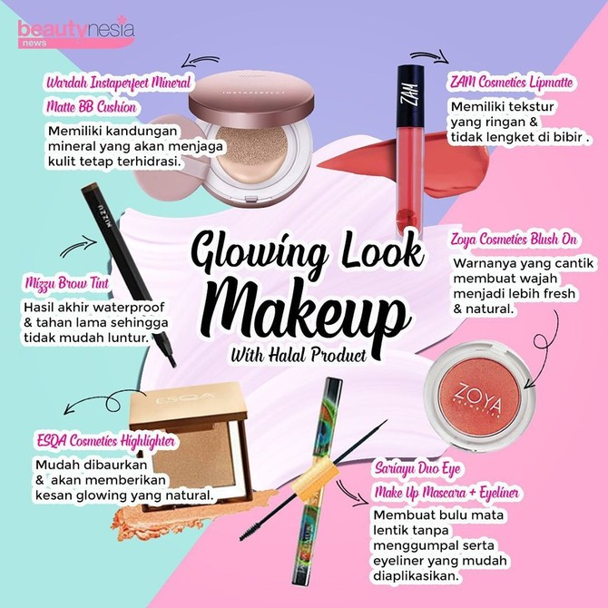 Infografis - glowing dengan makeup halal