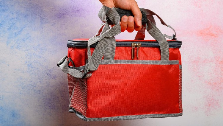 hand holding a red lunch pack carrier or insulation bag