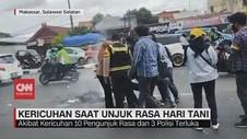 VIDEO: Kericuhan Saat Unjuk Rasa Hari Tani di Makassar