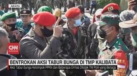 VIDEO: Bentrokan Aksi Tabur Bunga di TMP Kalibata