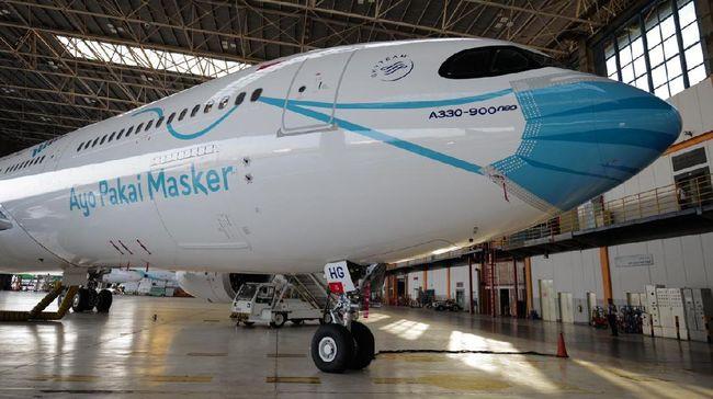 Garuda Indonesia meluncurkan pesawat dengan corak visual bermasker pada bagian depan pesawat Airbus A330-900 Neo.