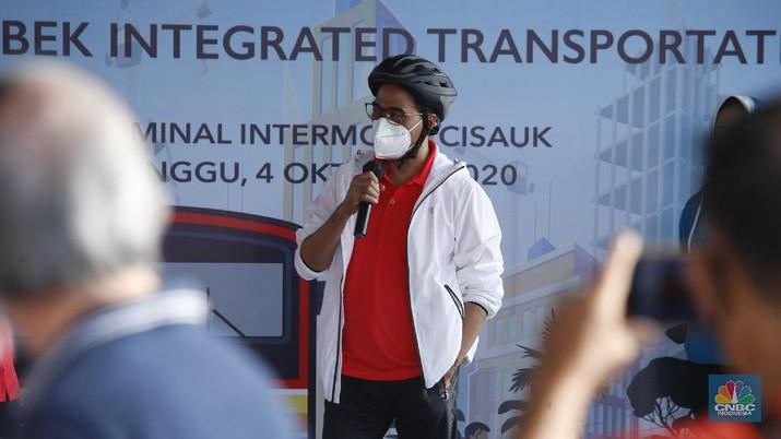Menteri Perhubungan Budi Karya Sumadi melakukan kunjungan kerja (Kunker) ke kawasan BSD City, Tangerang. (CNBC Indonesia/Tri Susilo)