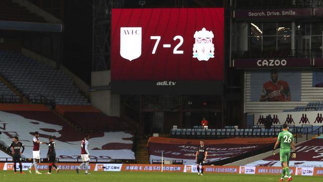 Liverpool kalah 2-7 dari Aston Villa di salah satu pertandingan Liga Inggris paling mengejutkan dalam sejarah Premier League