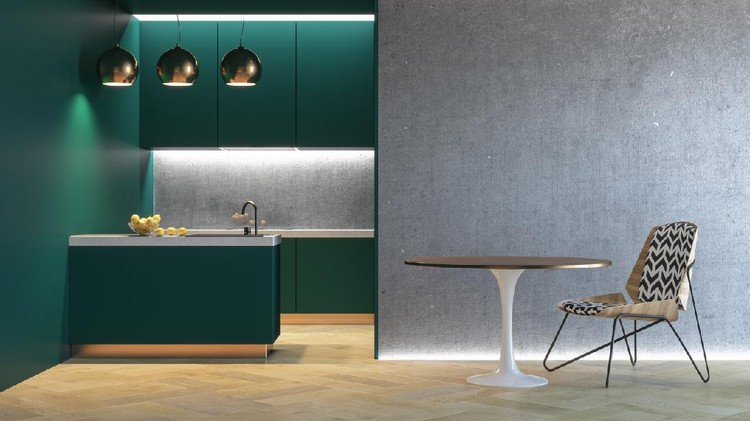Kitchen green minimalistic interior with table chair lamp wood floor concrete wall. 3d render illustration mock up.