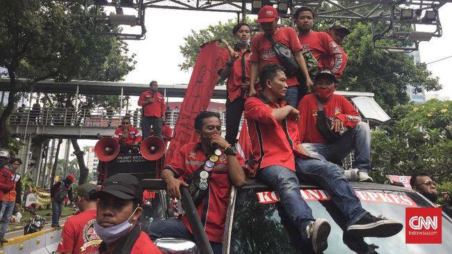 Gerakan Buruh Jakarta batal menggelar demo Omnibus Law UU Cipta Kerja di Istana Negara karena mendapat info akan ada kelompok yang menyusup.