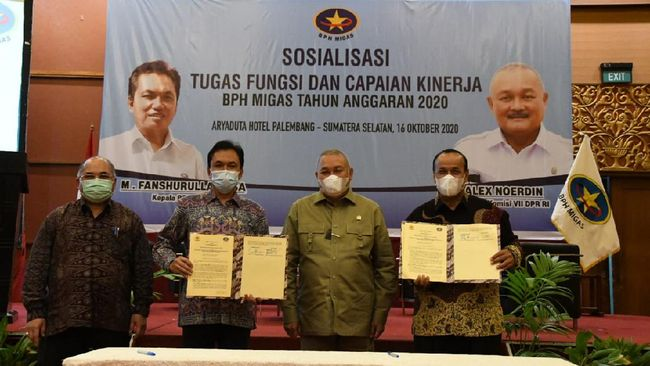 BPH Migas menggelar acara bertajuk Sosialisasi Tugas, Fungsi, dan Capaian Kerja BPH Migas Tahun Anggaran 2020 di Palembang, Sumsel, pada Jumat (16/10).