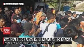VIDEO: Warga Berdesakan Menerima Bansos UMKM