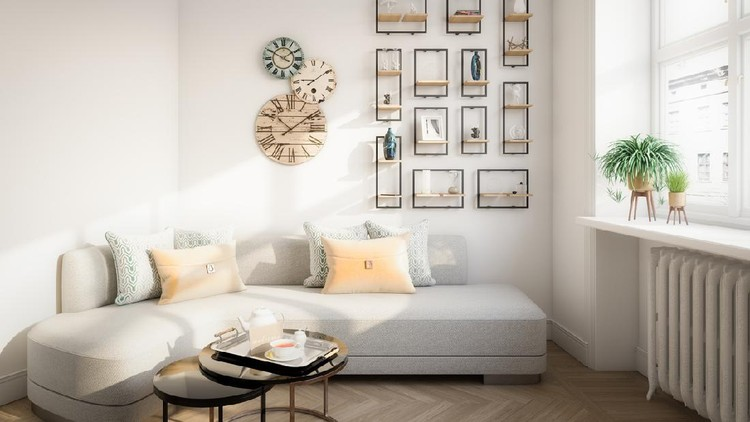 Digitally generated warm and cozy affordable Scandinavian style home interior (living room) design.  The scene was rendered with photorealistic shaders and lighting in Autodesk® 3ds Max 2020 with V-Ray Next with some post-production added.
