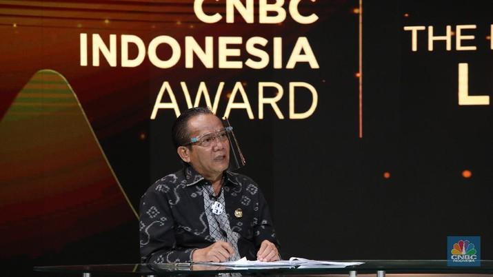 Foto: Gubernur Sulawesi Tengah, Longki Djanggola dalam acara CNBC Indonesia Award (CNBC Indonesia/Andrean Kristianto)