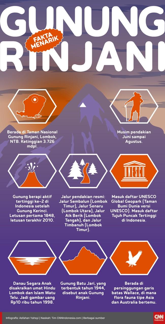 Berikut sejumlah fakta menarik mengenai Gunung Rinjani.