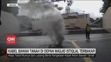 VIDEO: Kabel Bawah Tanah di Depan Masjid Istiqlal Terbakar